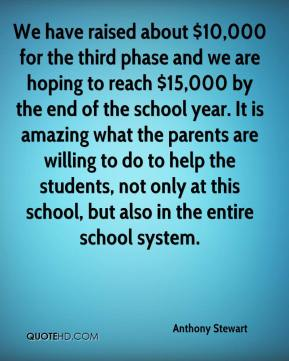 Anthony Stewart - We have raised about $10,000 for the third phase and we are hoping to reach $15,000 by the end of the school year. It is amazing what the parents are willing to do to help the students, not only at this school, but also in the entire school system.