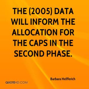 Barbara Helfferich - The (2005) data will inform the allocation for the caps in the second phase.
