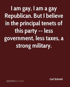 I am gay, I am a gay Republican. But I believe in the principal tenets of this party -- less government, less taxes, a strong military.