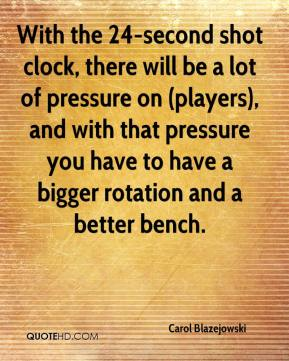 Carol Blazejowski - With the 24-second shot clock, there will be a lot of pressure on (players), and with that pressure you have to have a bigger rotation and a better bench.