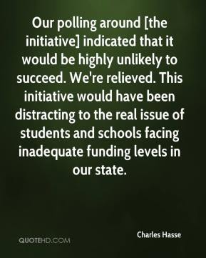 Charles Hasse - Our polling around [the initiative] indicated that it would be highly unlikely to succeed. We're relieved. This initiative would have been distracting to the real issue of students and schools facing inadequate funding levels in our state.