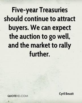 Cyril Beuzit - Five-year Treasuries should continue to attract buyers. We can expect the auction to go well, and the market to rally further.