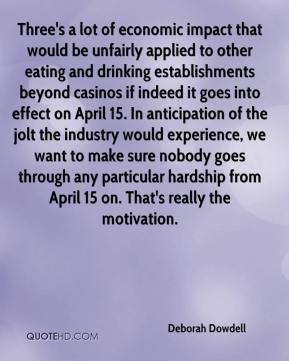 Deborah Dowdell - Three's a lot of economic impact that would be unfairly applied to other eating and drinking establishments beyond casinos if indeed it goes into effect on April 15. In anticipation of the jolt the industry would experience, we want to make sure nobody goes through any particular hardship from April 15 on. That's really the motivation.