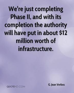G. Jean Verbos - We're just completing Phase II, and with its completion the authority will have put in about $12 million worth of infrastructure.