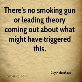 Guy Hohenhaus - There's no smoking gun or leading theory coming out about what might have triggered this.
