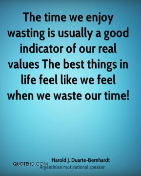 The time we enjoy wasting is usually a good indicator of our real values… The best things in life feel like we feel when we waste our time!