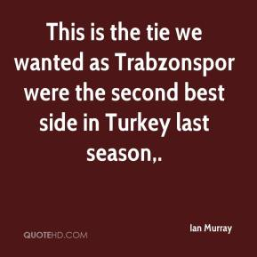 Ian Murray - This is the tie we wanted as Trabzonspor were the second best side in Turkey last season.