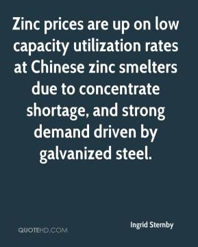 Ingrid Sternby - Zinc prices are up on low capacity utilization rates at Chinese zinc smelters due to concentrate shortage, and strong demand driven by galvanized steel.