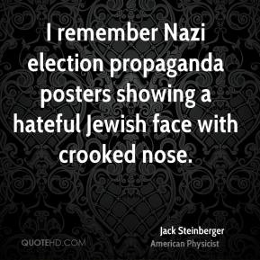 I remember Nazi election propaganda posters showing a hateful Jewish face with crooked nose.