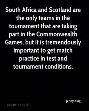 South Africa and Scotland are the only teams in the tournament that are taking part in the Commonwealth Games, but it is tremendously important to get match practice in test and tournament conditions.