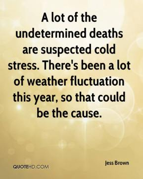 Jess Brown  - A lot of the undetermined deaths are suspected cold stress. There's been a lot of weather fluctuation this year, so that could be the cause.