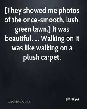 Jim Hayes  - [They showed me photos of the once-smooth, lush, green lawn.] It was beautiful, ... Walking on it was like walking on a plush carpet.