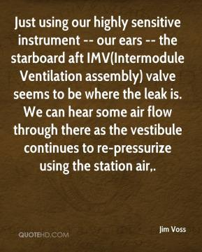 Jim Voss  - Just using our highly sensitive instrument -- our ears -- the starboard aft IMV(Intermodule Ventilation assembly) valve seems to be where the leak is. We can hear some air flow through there as the vestibule continues to re-pressurize using the station air.