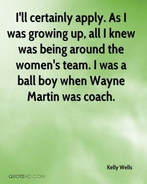 Kelly Wells  - I'll certainly apply. As I was growing up, all I knew was being around the women's team. I was a ball boy when Wayne Martin was coach.