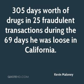 Kevin Maloney  - 305 days worth of drugs in 25 fraudulent transactions during the 69 days he was loose in California.