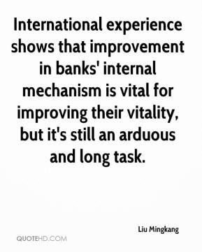 Liu Mingkang  - International experience shows that improvement in banks' internal mechanism is vital for improving their vitality, but it's still an arduous and long task.