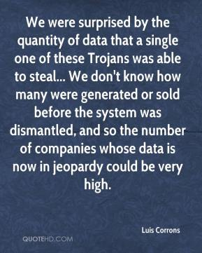 Luis Corrons  - We were surprised by the quantity of data that a single one of these Trojans was able to steal... We don't know how many were generated or sold before the system was dismantled, and so the number of companies whose data is now in jeopardy could be very high.