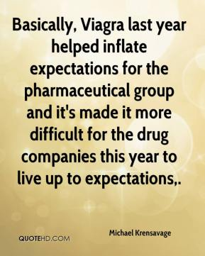 Michael Krensavage  - Basically, Viagra last year helped inflate expectations for the pharmaceutical group and it's made it more difficult for the drug companies this year to live up to expectations.