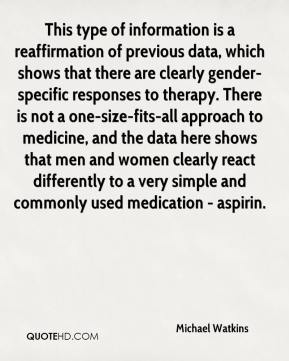 This type of information is a reaffirmation of previous data, which shows that there are clearly gender-specific responses to therapy. There is not a one-size-fits-all approach to medicine, and the data here shows that men and women clearly react differently to a very simple and commonly used medication - aspirin.