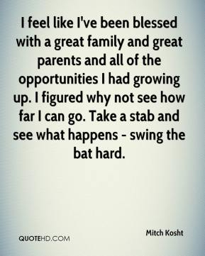 Mitch Kosht  - I feel like I've been blessed with a great family and great parents and all of the opportunities I had growing up. I figured why not see how far I can go. Take a stab and see what happens - swing the bat hard.