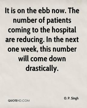 O. P. Singh  - It is on the ebb now. The number of patients coming to the hospital are reducing. In the next one week, this number will come down drastically.