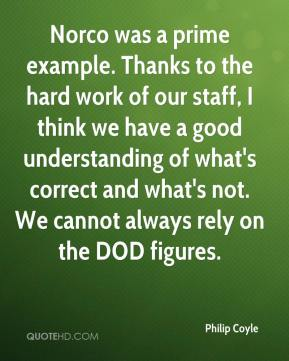 Philip Coyle  - Norco was a prime example. Thanks to the hard work of our staff, I think we have a good understanding of what's correct and what's not. We cannot always rely on the DOD figures.