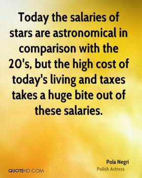 Today the salaries of stars are astronomical in comparison with the 20's, but the high cost of today's living and taxes takes a huge bite out of these salaries.