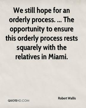 We still hope for an orderly process. ... The opportunity to ensure this orderly process rests squarely with the relatives in Miami.