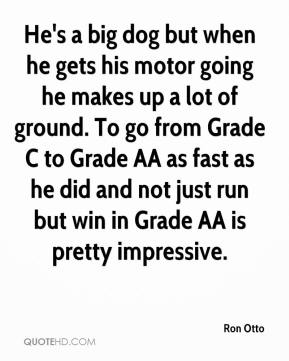 Ron Otto  - He's a big dog but when he gets his motor going he makes up a lot of ground. To go from Grade C to Grade AA as fast as he did and not just run but win in Grade AA is pretty impressive.