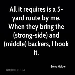 Steve Heiden  - All it requires is a 5-yard route by me. When they bring the (strong-side) and (middle) backers, I hook it.