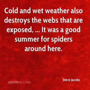 Steve Jacobs  - Cold and wet weather also destroys the webs that are exposed, ... It was a good summer for spiders around here.