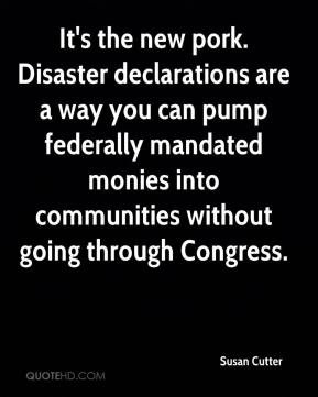 Susan Cutter  - It's the new pork. Disaster declarations are a way you can pump federally mandated monies into communities without going through Congress.