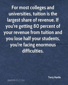 Terry Hartle  - For most colleges and universities, tuition is the largest share of revenue. If you're getting 80 percent of your revenue from tuition and you lose half your students, you're facing enormous difficulties.