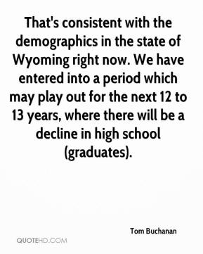 Tom Buchanan  - That's consistent with the demographics in the state of Wyoming right now. We have entered into a period which may play out for the next 12 to 13 years, where there will be a decline in high school (graduates).