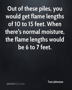Tom Johnston  - Out of these piles, you would get flame lengths of 10 to 15 feet. When there's normal moisture, the flame lengths would be 6 to 7 feet.
