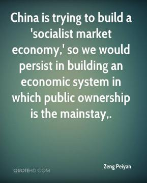 China is trying to build a 'socialist market economy,' so we would persist in building an economic system in which public ownership is the mainstay.