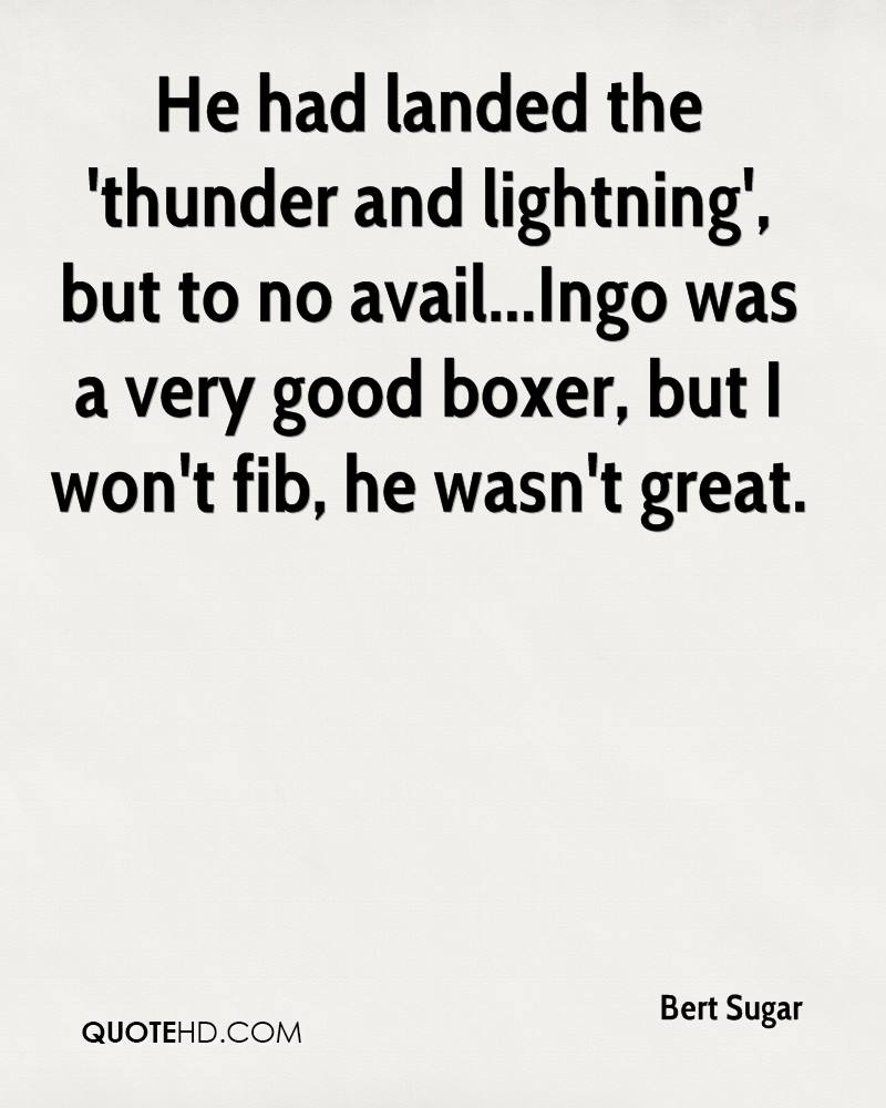 He had landed the 'thunder and lightning', but to no avail...Ingo was a very good boxer, but I won't fib, he wasn't great.