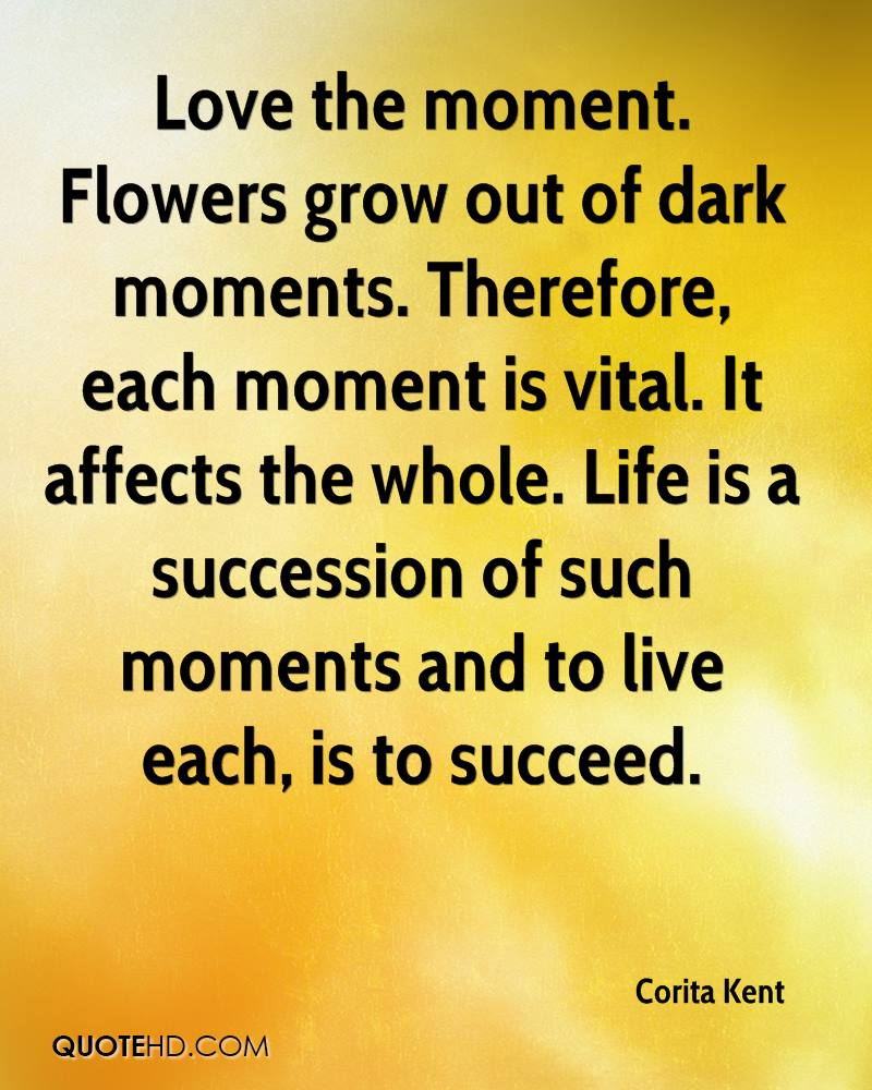 Love the moment. Flowers grow out of dark moments. Therefore, each moment is vital. It affects the whole. Life is a succession of such moments and to live each, is to succeed.