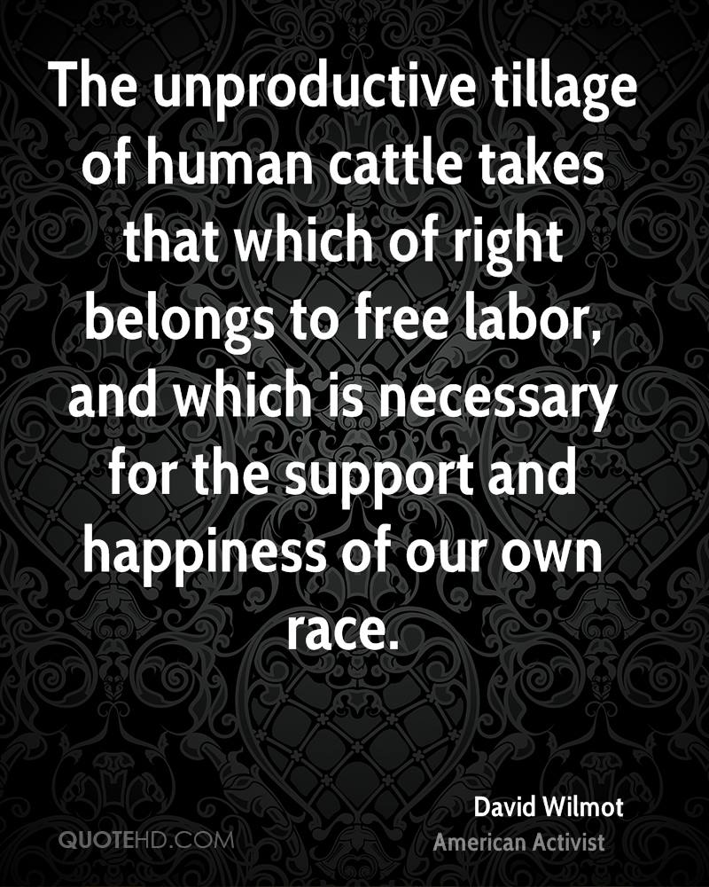 The unproductive tillage of human cattle takes that which of right belongs to free labor, and which is necessary for the support and happiness of our own race.