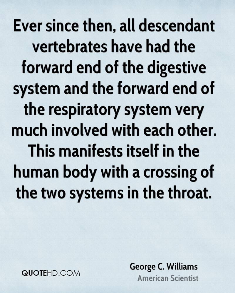 Ever since then, all descendant vertebrates have had the forward end of the digestive system and the forward end of the respiratory system very much involved with each other. This manifests itself in the human body with a crossing of the two systems in the throat.