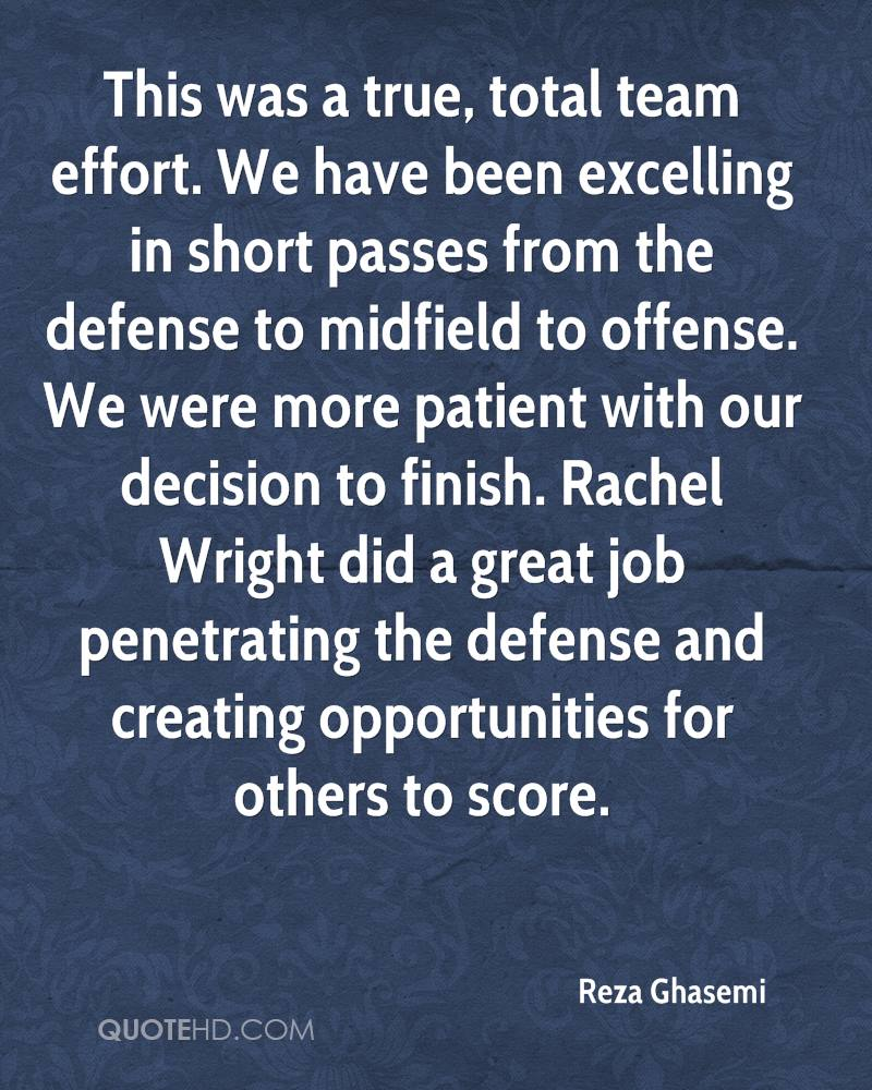 This was a true, total team effort. We have been excelling in short passes from the defense to midfield to offense. We were more patient with our decision to finish. Rachel Wright did a great job penetrating the defense and creating opportunities for others to score.