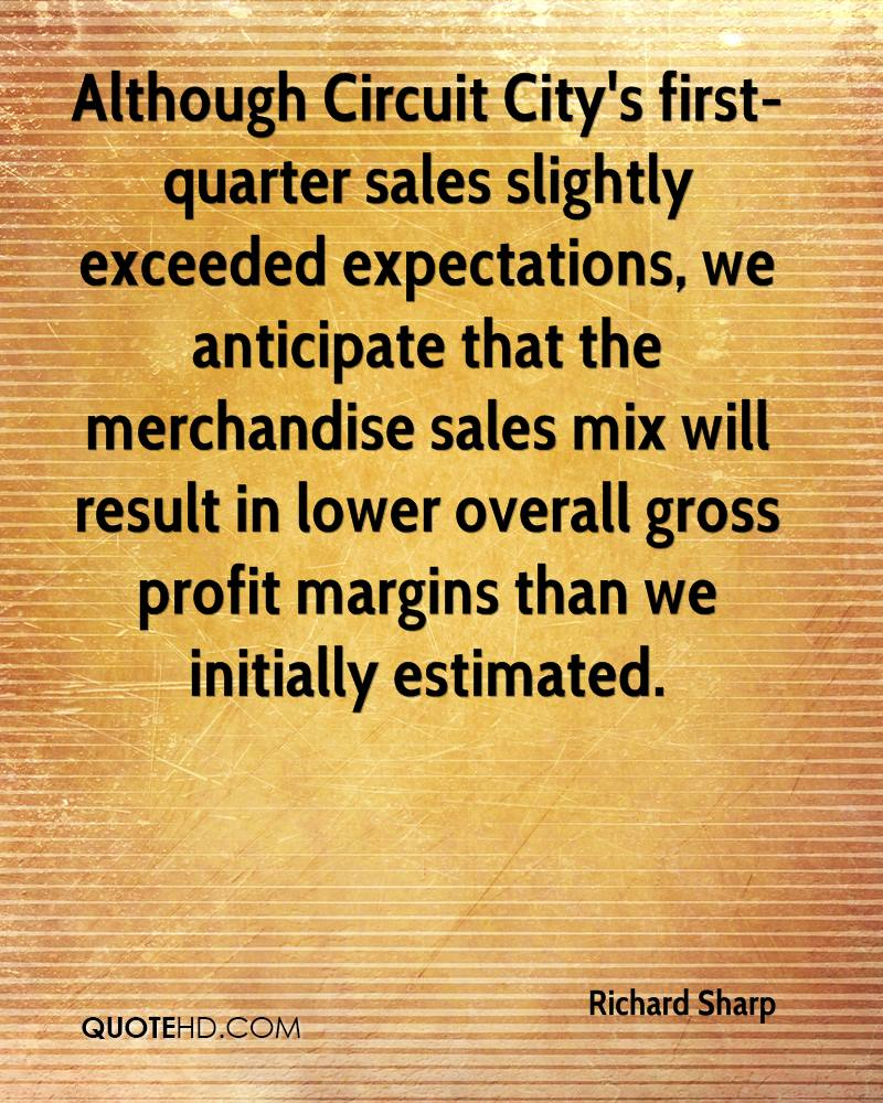 Although Circuit City's first-quarter sales slightly exceeded expectations, we anticipate that the merchandise sales mix will result in lower overall gross profit margins than we initially estimated.