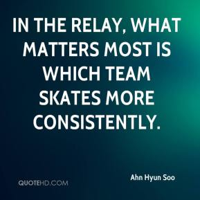 In the relay, what matters most is which team skates more consistently.