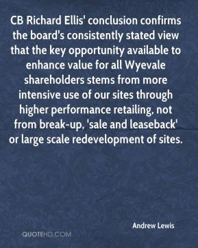 Andrew Lewis - CB Richard Ellis' conclusion confirms the board's consistently stated view that the key opportunity available to enhance value for all Wyevale shareholders stems from more intensive use of our sites through higher performance retailing, not from break-up, 'sale and leaseback' or large scale redevelopment of sites.