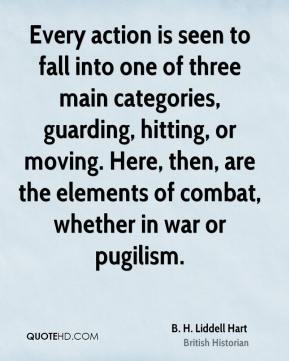 Every action is seen to fall into one of three main categories, guarding, hitting, or moving. Here, then, are the elements of combat, whether in war or pugilism.