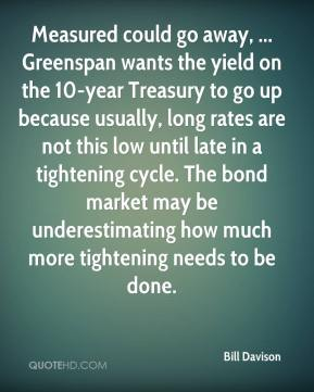 Bill Davison - Measured could go away, ... Greenspan wants the yield on the 10-year Treasury to go up because usually, long rates are not this low until late in a tightening cycle. The bond market may be underestimating how much more tightening needs to be done.