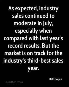 Bill Lovejoy - As expected, industry sales continued to moderate in July, especially when compared with last year's record results. But the market is on track for the industry's third-best sales year.