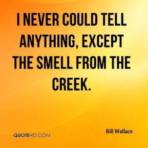Bill Wallace - I never could tell anything, except the smell from the creek.
