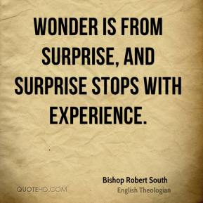 Wonder is from surprise, and surprise stops with experience.