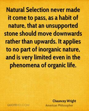 Chauncey Wright - Natural Selection never made it come to pass, as a habit of nature, that an unsupported stone should move downwards rather than upwards. It applies to no part of inorganic nature, and is very limited even in the phenomena of organic life.